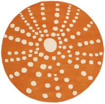 Sjöborre Handtufted - Naranja Alfombra Ø 150 Moderna Redonda Marrón Claro/Amarillo (Lana, India)