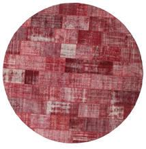 Patchwork Alfombra Ø 400 Moderna Hecha A Mano Redonda Rojo Oscuro/Violeta Grande (Lana, Turquía)