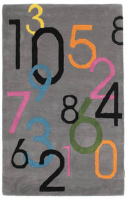 Lucky Numbers - Gris Alfombra 100X160 Moderna Marrón Oscuro/Gris Oscuro (Lana, India)
