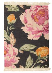 Kilim Karabaj Sofia - Negro Alfombra 100X160 Moderna Tejida A Mano Gris Oscuro/Rosa Claro (Lana, India)