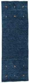 Gabbeh Loom Two Lines - Azul Oscuro Alfombra 80X250 Moderna Azul Oscuro (Lana, India)