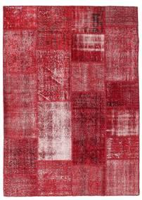 Patchwork Alfombra 163X229 Moderna Hecha A Mano Roja/Rojo Oscuro (Lana, Turquía)