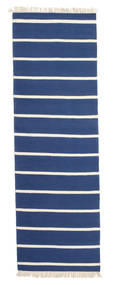 Dorri Stripe - Azul Oscuro Alfombra 80X250 Moderna Tejida A Mano Azul/Beige (Lana, India)