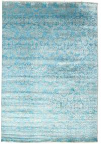 Damask Alfombra 204X299 Moderna Hecha A Mano Azul Claro/Azul Turquesa ( India)