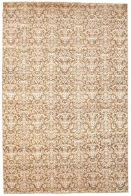 Damask Alfombra 203X306 Moderna Hecha A Mano Beige/Beige Oscuro ( India)