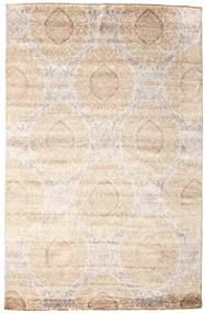 Damask Alfombra 195X300 Moderna Hecha A Mano Beige/Gris Claro ( India)
