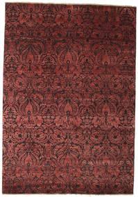 Damask Alfombra 172X244 Moderna Hecha A Mano Rojo Oscuro/Marrón ( India)