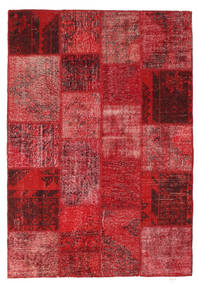 Patchwork Alfombra 138X201 Moderna Hecha A Mano Rojo Oscuro/Roja (Lana, Turquía)