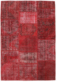 Patchwork Alfombra 159X231 Moderna Hecha A Mano Rojo Oscuro/Roja (Lana, Turquía)