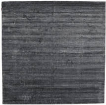 Bambú De Seda Loom - Charcoal Alfombra 250X250 Moderna Cuadrada Violeta/Gris Oscuro/Negro Grande ( India)