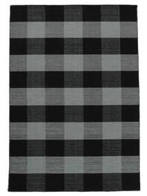 Check Kilim Alfombra 160X230 Moderna Tejida A Mano Negro/Violeta (Lana, India)