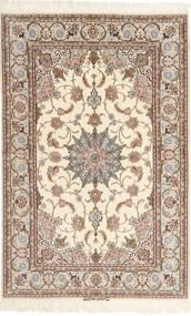 Isfahan Urdimbre De Seda Mazaheri Alfombra 130X200 Oriental Hecha A Mano Gris Claro/Beige/Marrón (Lana/Seda, Persia/Irán)