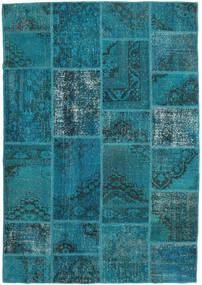 Patchwork Alfombra 159X231 Moderna Hecha A Mano Turquesa Oscuro/Azul Oscuro (Lana, Turquía)