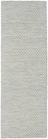 Kilim Honey Comb - Gris Alfombra 80X240 Moderna Tejida A Mano Gris Claro/Beige (Lana, India)