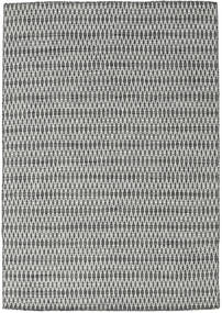 Kilim Long Stitch - Negro/Gris Alfombra 160X230 Moderna Tejida A Mano Gris Claro/Gris Oscuro (Lana, India)