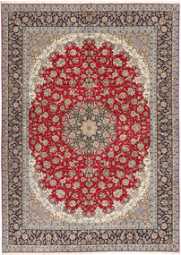 Isfahan Urdimbre De Seda Alfombra 300X417 Oriental Hecha A Mano Gris Claro/Rojo Oscuro Grande (Lana/Seda, Persia/Irán)
