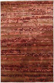Damask Alfombra 196X300 Moderna Hecha A Mano Marrón Oscuro/Roja ( India)
