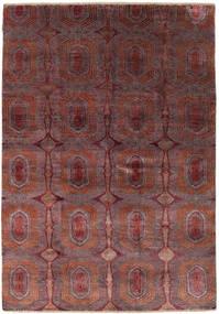 Damask Alfombra 169X242 Moderna Hecha A Mano Rojo Oscuro/Marrón Oscuro ( India)