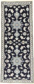 Nain Alfombra 78X197 Oriental Hecha A Mano Negro/Gris Claro/Gris Oscuro (Lana, Persia/Irán)