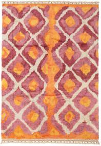 Handknotted Berber Shaggy Alfombra 196X281 Moderna Hecha A Mano Naranja/Óxido/Roja (Lana, Turquía)
