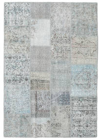 Patchwork Alfombra 140X201 Moderna Hecha A Mano Gris Claro/Azul Claro (Lana, Turquía)