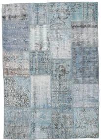 Patchwork Alfombra 136X195 Moderna Hecha A Mano Gris Claro/Azul Claro (Lana, Turquía)