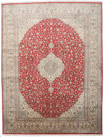 Cachemira Pura De Seda Alfombra 279X363 Oriental Hecha A Mano Gris Claro Grande (Seda, India)