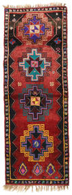 Herki Vintage Alfombra 135X373 Oriental Hecha A Mano Rojo Oscuro/Negro (Lana, Turquía)