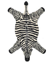 Zebra Alfombra 100X155 Moderna Negro/Beige (Lana, India)