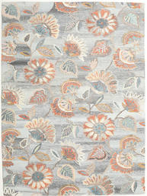 Rusty Flowers - Gris/Óxido Alfombra 200X300 Moderna Gris Claro/Beige Oscuro (Lana, India)