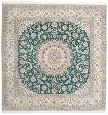 Nain 9La Alfombra 302X304 Oriental Hecha A Mano Cuadrada Gris Claro/Beige Grande (Lana/Seda, Persia/Irán)
