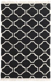 London - Negro/Blanco Crudo Alfombra 120X180 Moderna Tejida A Mano Negro/Beige (Lana, India)