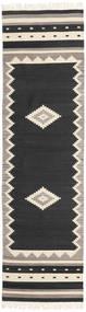 Tribal - Negro Alfombra 80X300 Moderna Tejida A Mano Negro/Gris Claro (Lana, India)