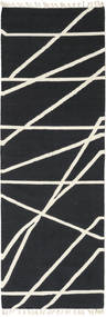 Cross Lines - Negro/Blanco Crudo Alfombra 80X250 Moderna Tejida A Mano Gris Oscuro/Beige (Lana, India)