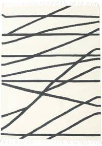 Cross Lines - Blanco Crudo/Negro Alfombra 160X230 Moderna Tejida A Mano Beige/Gris Oscuro (Lana, India)