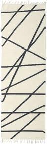 Cross Lines - Blanco Crudo/Negro Alfombra 80X250 Moderna Tejida A Mano Beige/Gris Oscuro (Lana, India)
