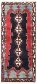 Afshar/Sirjan Alfombra 90X200 Oriental Hecha A Mano Negro/Rojo Oscuro (Lana, Persia/Irán)