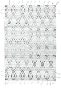 Pet Yarn Kilim Alfombra 164X240 Moderna Tejida A Mano Gris Claro/Blanco/Crema ( India)