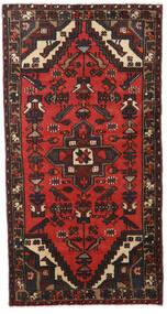 Hamadan Alfombra 77X147 Oriental Hecha A Mano Negro/Rojo Oscuro (Lana, Persia/Irán)