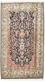 Cachemira Pura De Seda Alfombra 83X126 Oriental Hecha A Mano Beige/Púrpura Oscuro (Seda, India)