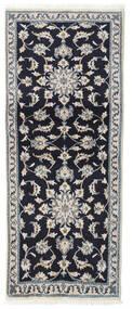 Nain Alfombra 75X190 Oriental Hecha A Mano Púrpura Oscuro/Gris Claro (Lana, Persia/Irán)