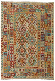 Kilim Afghan Old Style Alfombra 206X295 Oriental Tejida A Mano Rojo Oscuro/Marrón Claro (Lana, Afganistán)
