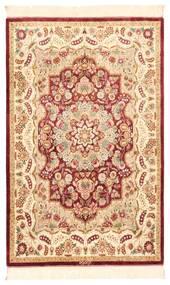 Ghom De Seda Alfombra 80X121 Oriental Hecha A Mano Beige/Rojo Oscuro (Seda, Persia/Irán)