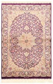 Ghom De Seda Alfombra 100X148 Oriental Tejida A Mano Beige/Rosa Claro (Seda, Persia/Irán)