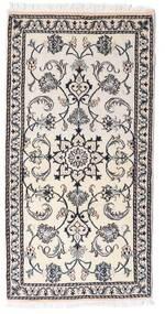 Nain Alfombra 70X140 Oriental Hecha A Mano Beige/Gris Claro/Blanco/Crema (Lana, Persia/Irán)