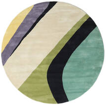 Dynamic Handtufted - Mint Alfombra Ø 200 Moderna Redonda Beige Oscuro/Gris Oscuro/Verde Pastel (Lana, India)