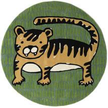 Cool Cat - Amarillo Alfombra Ø 150 Moderna Redonda Verde Oscuro/Verde Oliva (Lana, India)