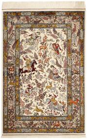 Ghom De Seda Alfombra 98X148 Oriental Hecha A Mano Beige/Marrón (Seda, Persia/Irán)