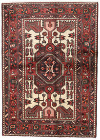 Hamadan Alfombra 140X194 Oriental Hecha A Mano Rojo Oscuro/Negro (Lana, Persia/Irán)