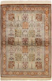 Ghom De Seda Alfombra 102X150 Oriental Tejida A Mano Marrón/Gris Claro (Seda, Persia/Irán)